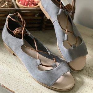 JJill Suede Leather Ankle Strappy Sandals NEW